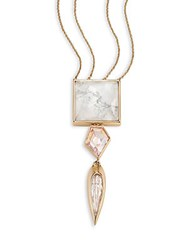 Alexis Bittar Miss Havisham Deconstructed Deco Howlite And Crystal Pendant Necklace Gold