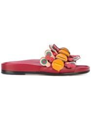 Anya Hindmarch Flip Slide Sandals Women Calf Leather Leather 39 Red