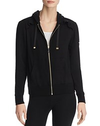 Kate Spade New York Ruffled Zip Hoodie Sweatshirt Black