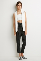 Forever 21 Belted Pinstripe Trousers Black White