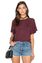 Enza Costa Stretch Crepe Jersey Flutter Sleeve Raglan Top Burgundy