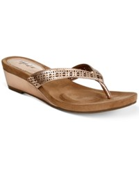 Styleandco. Style Co Haloe Wedge Sandals Created For Macy's Women's Shoes Rose Gold Perforated