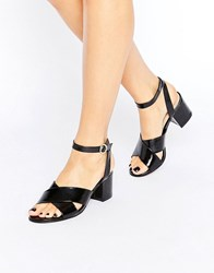 London Rebel Mid Heel Sandal Black Wrinkle Pat Pu