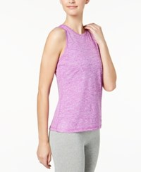 Ideology Heathered Keyhole Back Tank Top Created For Macy's Purple Cactus