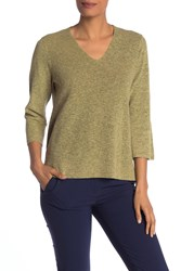 Eileen Fisher V Neck 3 4 Length Sleeve Top Olive