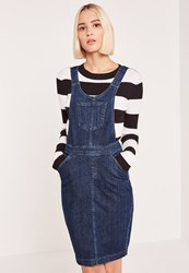Missguided Blue Pinafore Fitted Denim Dress
