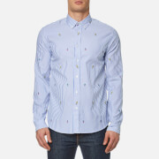 Kenzo Men's Cartoons Striped Oxford Shirt Perriwinkle Blue