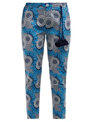 Figue Zulu Cropped Cotton Trousers Blue Print