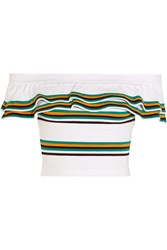 Msgm Off The Shoulder Striped Stretch Cotton Blend Top White