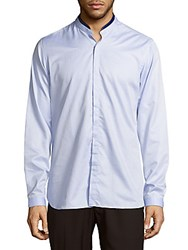 The Kooples Band Collar Cotton Casual Shirt Blue