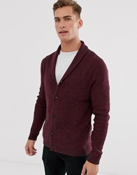 Selected Homme Organic Cotton Knitted Shawl Cardigan In Burgundy Red