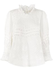 Loveshackfancy Shelley Lace Trimmed Mock Neck Blouse White