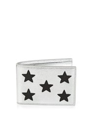 Saint Laurent Star Embellished Leather Bi Fold Wallet Silver