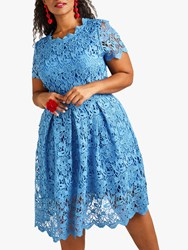 Yumi Curves Floral Lace Prom Skater Dress Blue