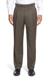 Men's Big And Tall Ballin Pleated Solid Wool Trousers Loden