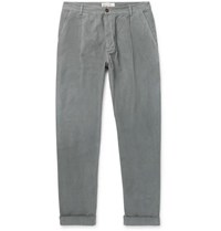Universal Works Tapered Pleated Cotton Corduroy Trousers Gray