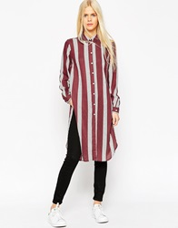 Asos Long Sleeve Burgundy And White Stripe Maxi Shirt Multi