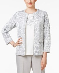 Alfred Dunner Petite Veneto Valley Printed Jacket Grey