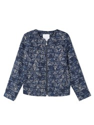 Dash Printed Tencel Bomber Jacket Blue