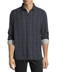 Velvet Plaid Flannel Sport Shirt Navy