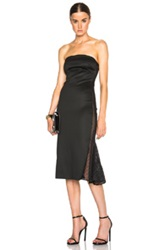 Cushnie Et Ochs Lullaby Jersey Strapless Dress With Netting In Black