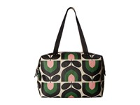 Orla Kiely Matt Laminated Stripe Tulip Print Zip Shopper Spring Handbags Green