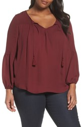 London Times Plus Size Women's Peasant Blouse Wine