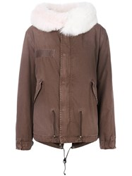 Mr And Mrs Italy Short Parka Coat Women Cotton Calf Leather Polyamide Lamb Fur Xs Brown