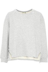 Amo Distressed Cotton Terry Sweatshirt Light Gray