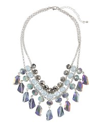 Fragments For Neiman Marcus Multihued Crystal Statement Bib Necklace Gray