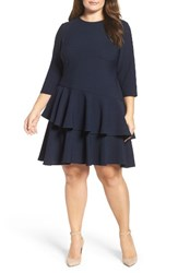 Eliza J Plus Size Women's Ruffle Tiered Shift Dress