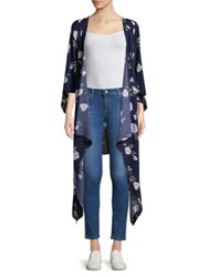 Design Lab Lord And Taylor Floral Asymmetrical Cardigan Peacock Blue
