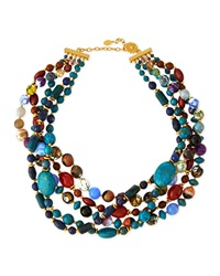 Jose And Maria Barrera Chunky Multi Stone Necklace Blue