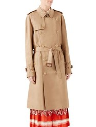Gucci Gabardine Embroidered Trench Coat Camel