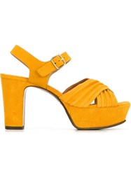 Chie Mihara Chunky Heel Platform Sandals Yellow And Orange