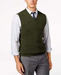 Club Room Men's V Neck Cashmere Sweater Vest Created For Macy's Olive Mist Heather