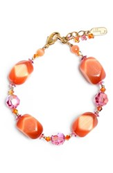 Women's Dabby Reid Semiprecious And Crystal Bracelet Orange Pink