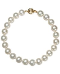 Belle De Mer Cultured Freshwater Pearl Bracelet 7 1 2Mm In 14K Gold White