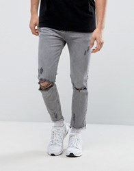 Bershka Skinny Jeans In Grey With Raw Hem Grey