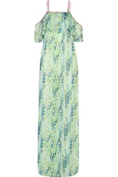 Matthew Williamson Layered Cold Shoulder Printed Silk Chiffon Maxi Dress Multi