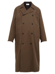 Raey Double Breasted Cotton Blend Coat Brown