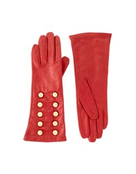 Dents Leather Military Button Gloves Black