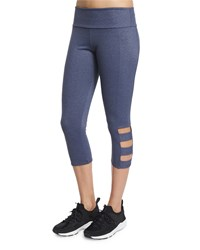 Onzie Cutout Side Capri Pants Heathered Denim
