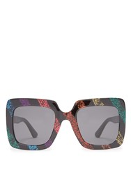 Gucci Square Frame Glitter Acetate Sunglasses Black Multi