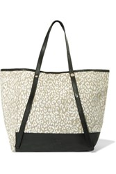 See By Chloe Andy Textured Leather Paneled Printed Canvas Tote Off White