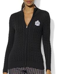 Lauren Ralph Lauren Full Zip Cable Knit Cardigan Black White