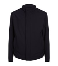 Paul And Shark Leather Trim Wool Jacket Male Navy