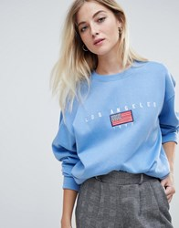 Daisy Street Relaxed Sweatshirt With Vintage Los Angeles Embroidery Blue