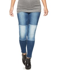 Blank Nyc Maternity Patched Ankle Skinny Jeans Dark Wash