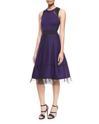 Donna Karan Mesh Inset Belted Fit And Flare Combo Dress Women's